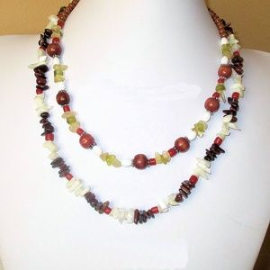 """Colorful """"Red Beads and Rice"""" Necklace"""